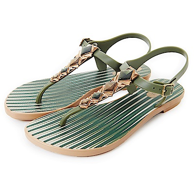 GRENDHA 晶彩T字帶條紋平底涼鞋-綠色