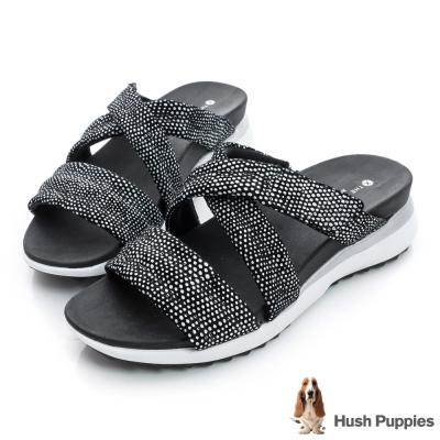 Hush Puppies ISABELL 時尚輕量運動涼拖鞋-黑白色