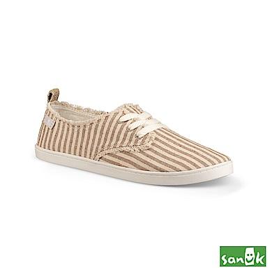 SANUK 率性不修邊條紋綁帶休閒鞋-女款(褐色)