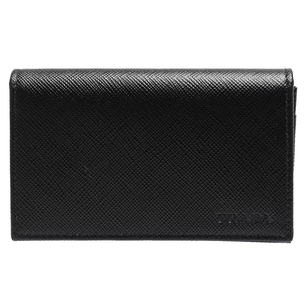 PRADA Saffiano經典LOGO壓印防刮牛皮釦式信用卡/名片夾(黑)PRADA