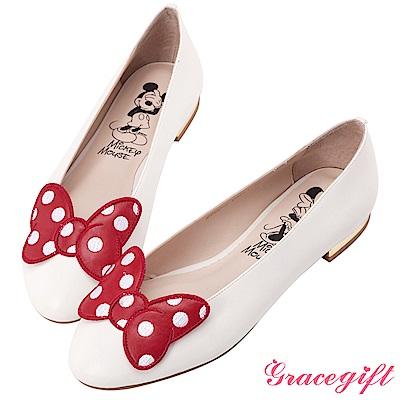Disney collection by grace gift立體飾片平底娃娃鞋 白