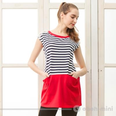 ohoh-mini孕婦裝休閒款針織拼接蕾絲圓領上衣