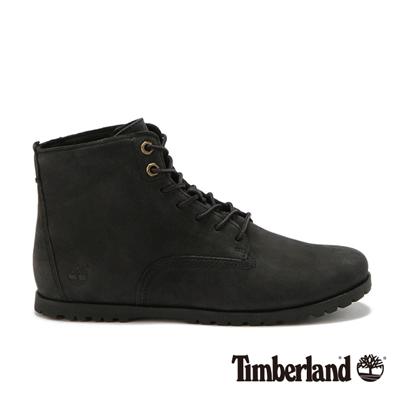 Timberland-女款黑色素面綁帶中筒休閒鞋