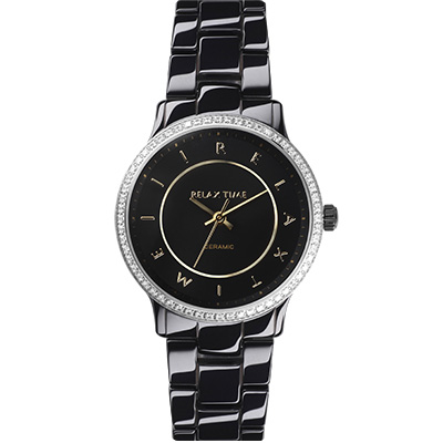 RELAX TIME 輕熟奢華鑽圈陶瓷錶款-黑x金/30mm