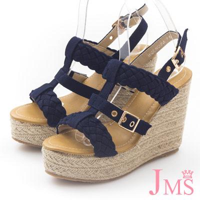JMS-歐美性感風-寬版編織高跟楔形涼鞋-藍色