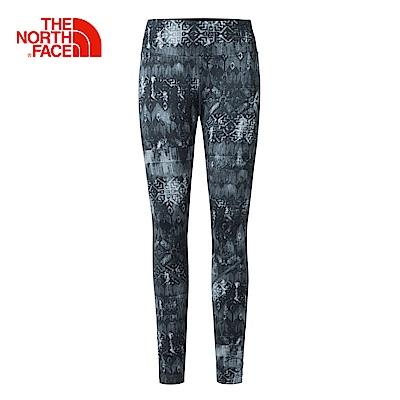 The North Face北面女款黑色印花色舒適快乾運動緊身褲