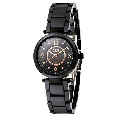 NATURALLY JOJO 優雅流蘇紋時尚陶瓷腕錶-珍珠母貝 黑/32mm