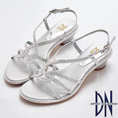 DN 尊貴耀眼 閃鑽美型曲線涼跟鞋-銀