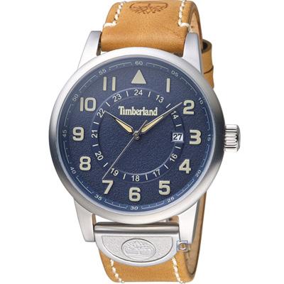 Timberland西部牛仔時尚腕錶-45mm/藍x淺棕
