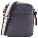 COACH LOGO 新款壓印素面皮革斜背包(深藍)