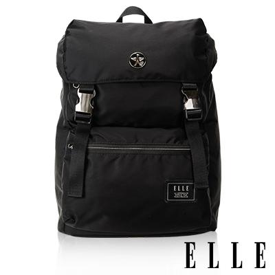 ELLE HOMME獨特巴黎鐵塔設計休閒風格可置物12吋扣層機能後背包-黑色