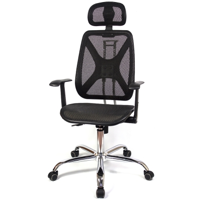 aaronation - 機能性椅背辦公/電腦網椅(DW-105HT手枕鐵腳PU)
