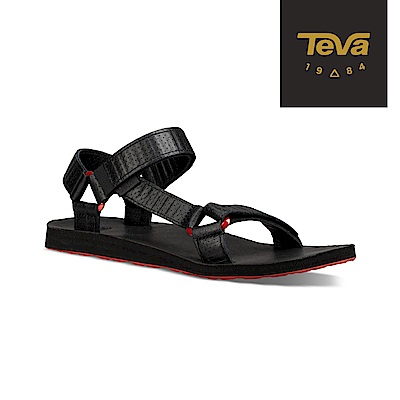 TEVA 美國-男 Original Moto 金屬扣環皮革涼鞋 黑