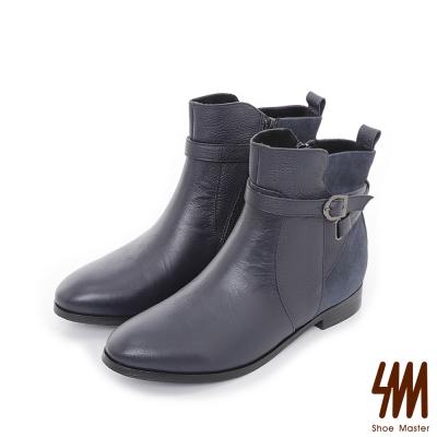 SM-台灣全真皮-率性皮帶平底粗跟短靴-深藍