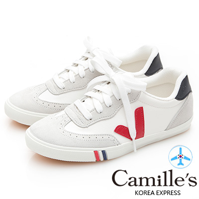Camille's 韓國空運-正韓製-撞色側V牛津綁帶帆布休閒鞋-紅色V