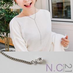 N.C21-正韓水鑽垂墜簡約項鍊 (銀色)
