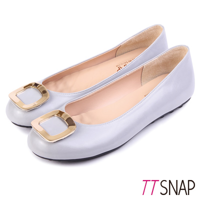 TTSNAP娃娃鞋-MIT高雅時尚金屬方釦平底鞋 灰