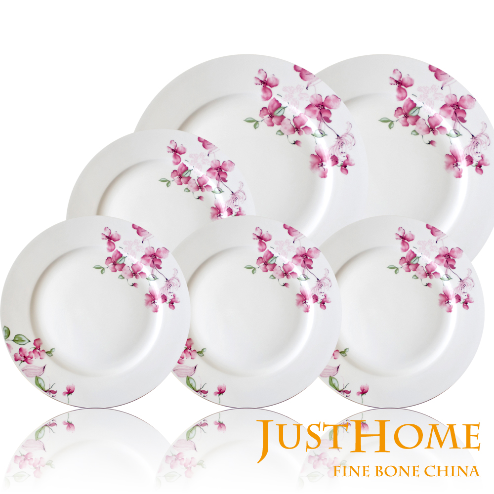 【Just Home】花裳高級骨瓷餐盤6件組(兩種尺寸)