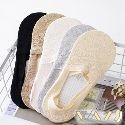 Wazi-蕾絲花紋包邊防滑船襪隱形襪1組五入