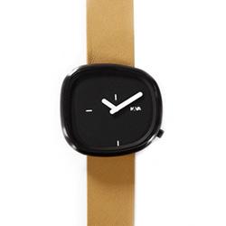 NAVA DESIGN 經典淬鍊石頭造型腕錶-黑面x棕色錶帶/42mm