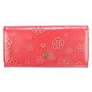 CLATHAS 山茶花壓紋漆皮單扣雙層多功能長夾-桃粉色