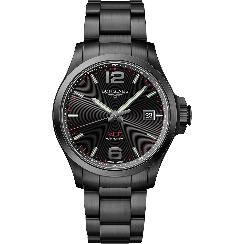 LONGINES浪琴 征服者系列V.H.P.萬年曆手錶-鍍黑/43mm