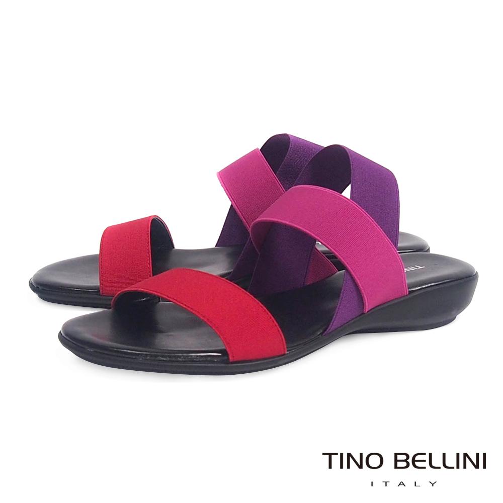 Tino Bellini 義大利進口色階繃帶小坡跟涼鞋_紅紫