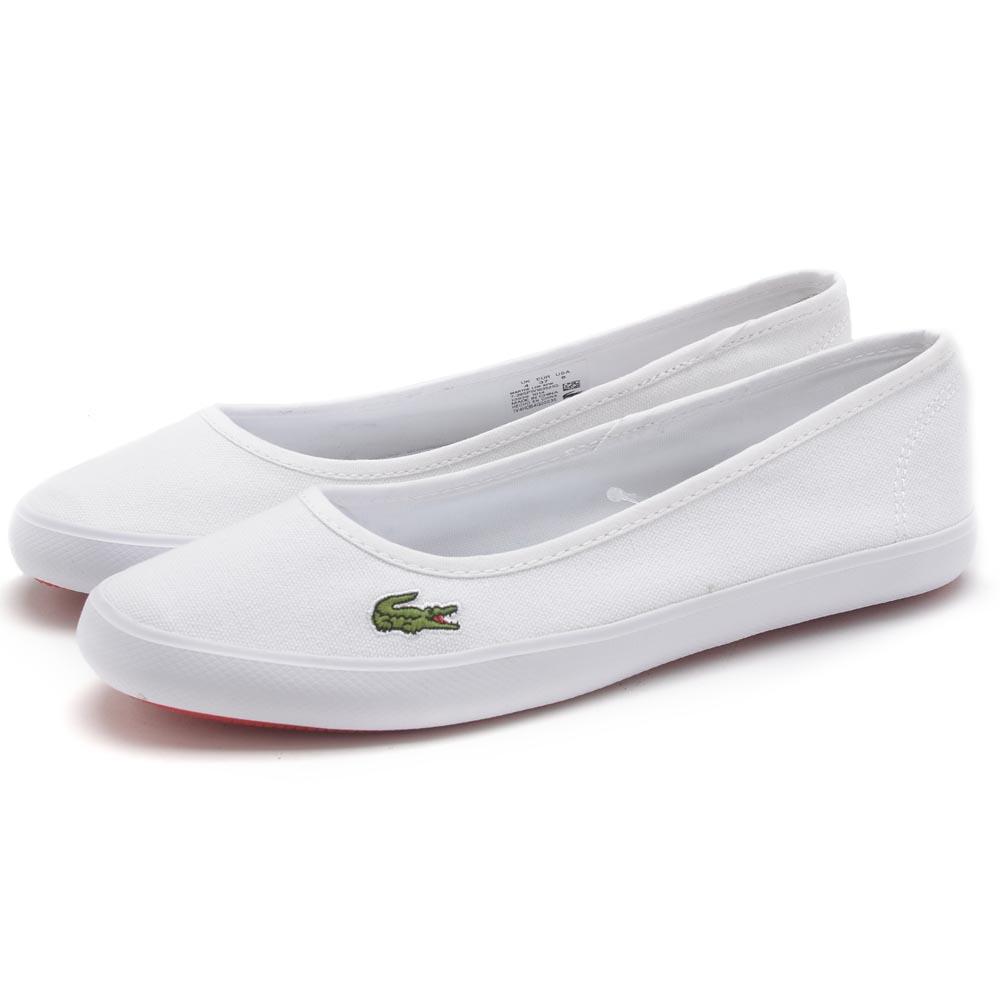 Lacoste MARTHE LCR女用休閒帆布娃娃鞋-白色