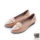 SM-真皮手作-鏡面飾條素面尖頭平底楔型休閒鞋-卡其