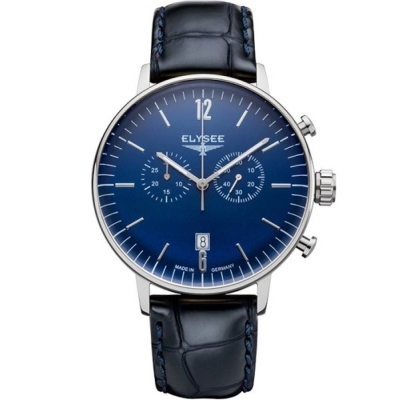ELYSEE  復刻時尚計時腕錶-藍x黑/42mm