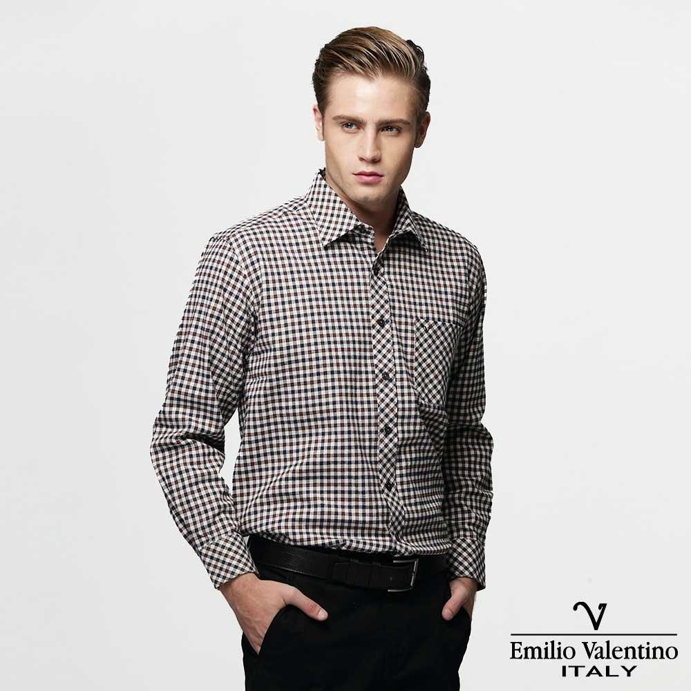 Emilio Valentino 范倫提諾經典格紋襯衫-咖啡