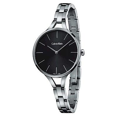 Calvin Klein 閃耀自信魅力石英女錶(K7E23141)-黑色/36mm