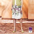 ILEY伊蕾 熱帶花卉舒適棉質印花褶裙(白)