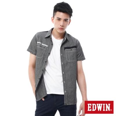 EDWIN-襯衫-剪接配色襯衫-男-黑色