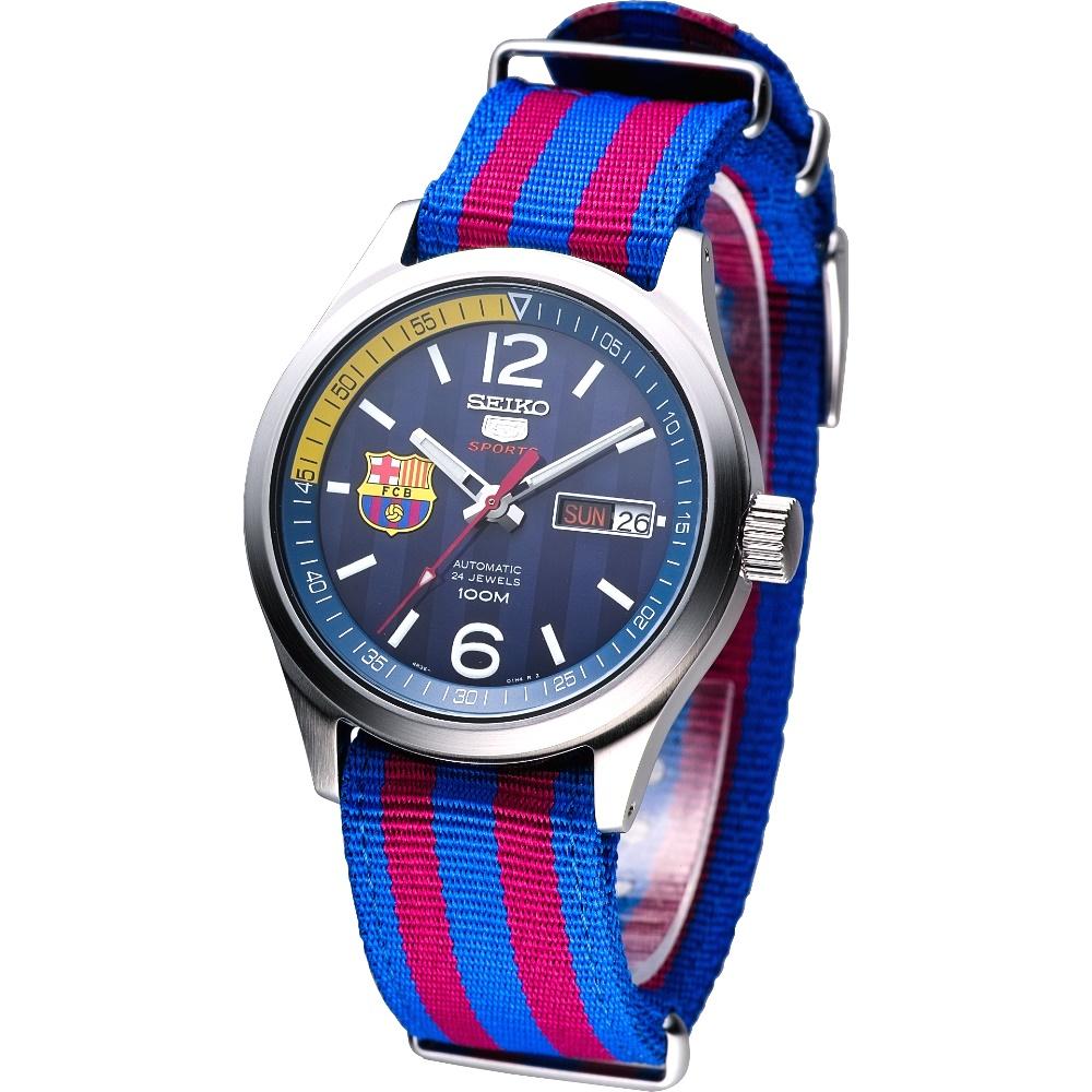 SEIKO FC Barcelona 巴塞隆納盾牌5號機械腕錶-深藍面/39mm
