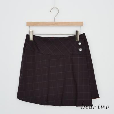 beartwo 釦飾一片式打摺格紋拉鍊短裙(二色)