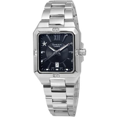SHEEN 簡潔方形設計星星元素腕錶(SHE-4501D-1A)-黑/28.3mm