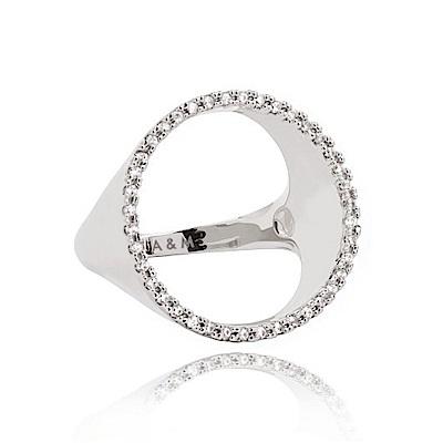 ASTRID&MIYU英國潮流品牌 裸空水鑽圓形戒指 銀色