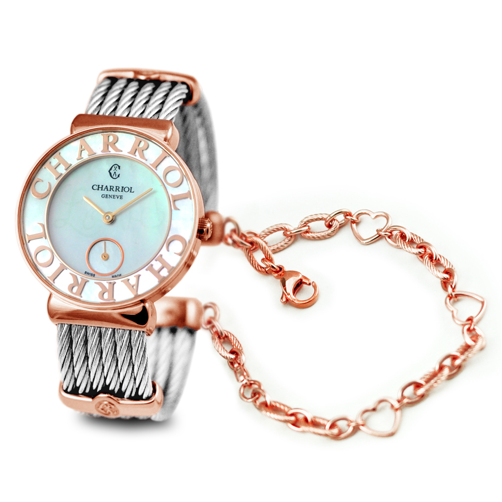 CHARRIOL 夏利豪花樣面珍珠母貝小秒針腕錶-30mm