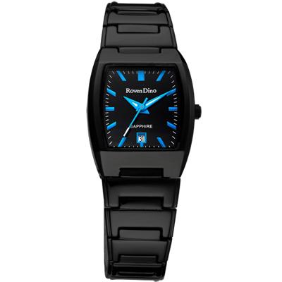 Roven Dino羅梵迪諾 演繹炫彩酒桶型腕錶-黑x藍/25mm