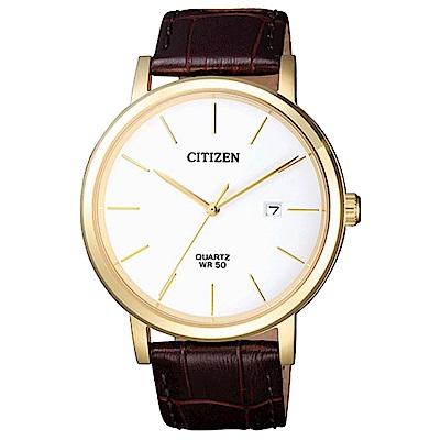 CITIZEN星辰 金簡風範皮革石英男錶(BI5072-01A)-白/40mm