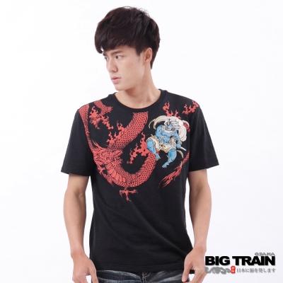 BIG TRAIN-風神鬥龍圓領短T-黑