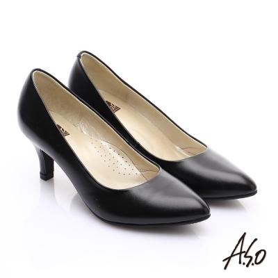 A.S.O 舒適通勤 全真皮通勤尖楦俐落高跟鞋 黑軟皮