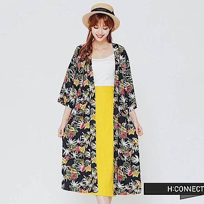 H:CONNECT 韓國品牌 女裝-飄逸仙氣草樣薄外套-藍