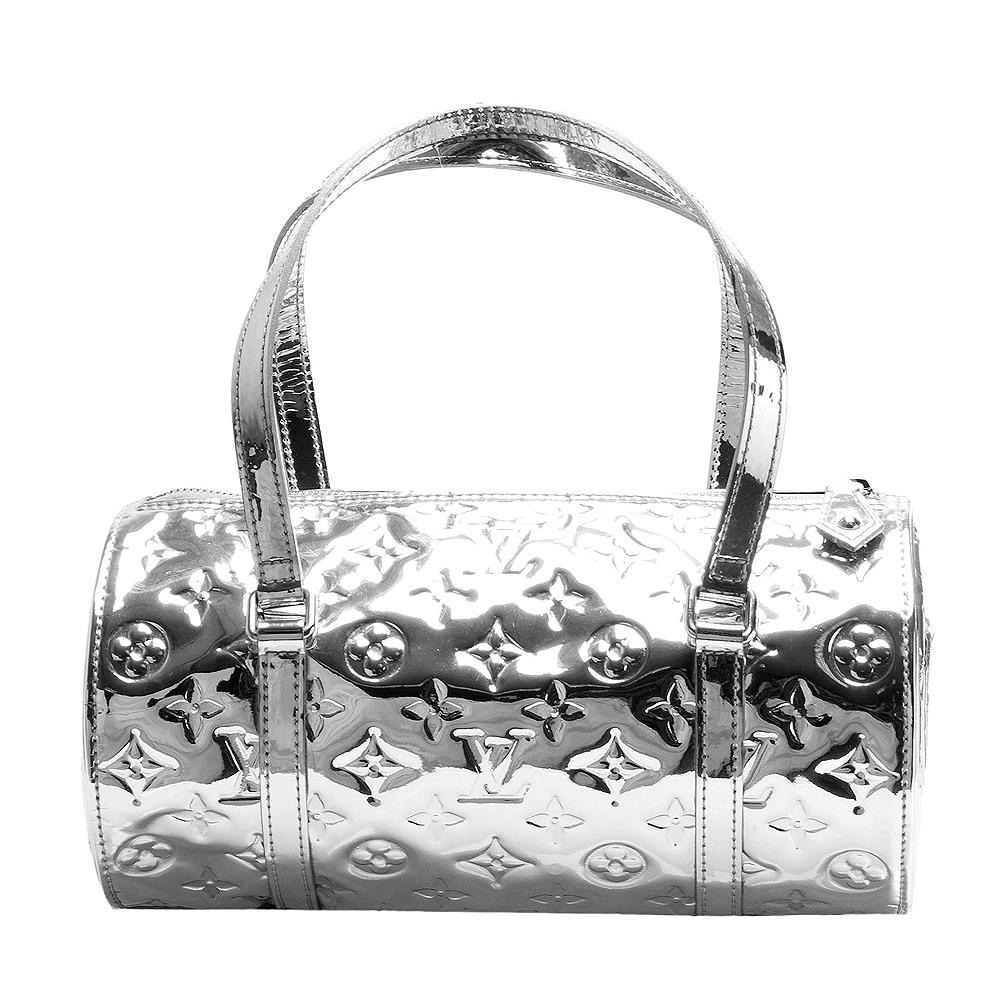 LV M95269限量版Monogram Miroir Papillon漆皮手提圓筒包-銀