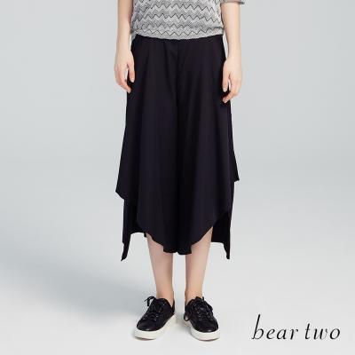 beartwo 波浪斜邊下擺寬管褲(二色)-動態show