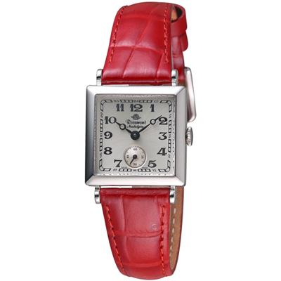 Rosemont 玫瑰錶 戀舊系列時尚腕錶-白x紅色錶帶/23x23mm