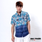 BIG TRAIN 漸層染格紋襯衫-男-湖藍格