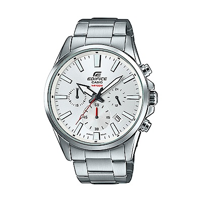 EDIFICE 卡西歐經典三眼大錶面腕錶(EFV-510D-7A)-白/45mm