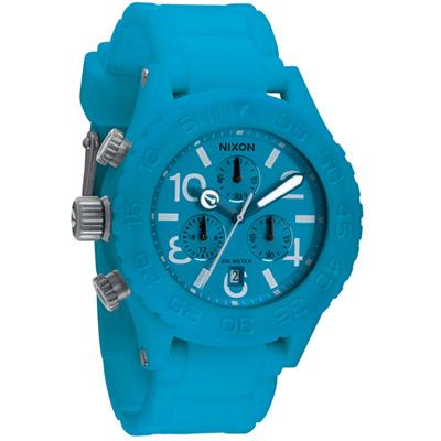 NIXON The RUBBER 40-20 CHRONO風糜全場運動腕錶-藍/43mm